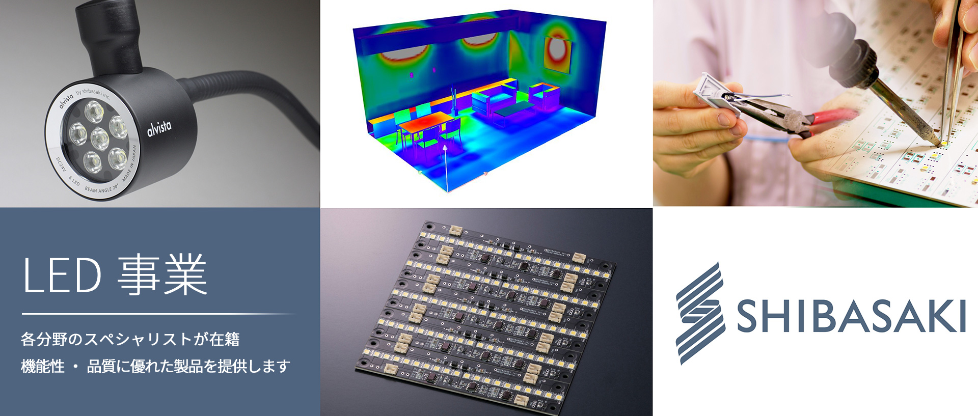 LED事業 各分野のスペシャリストが在籍 機能性・品質に優れた製品を提供します